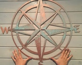 "Nautical compass- 34""- Saltwater Art- Pirate Decor- Fixer Upper- Man Cave Decoration- Beach Decor- Boat Dock- Boys Room- Sailing Decor-"