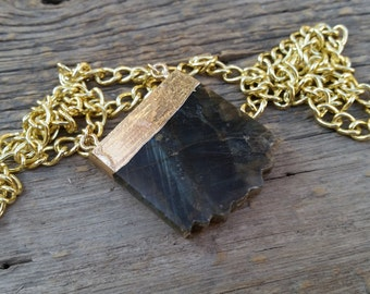 """Labradorite Crystal Slice - Long Gold Chain Necklace - """"Stone of Transformation & Magic"""""""