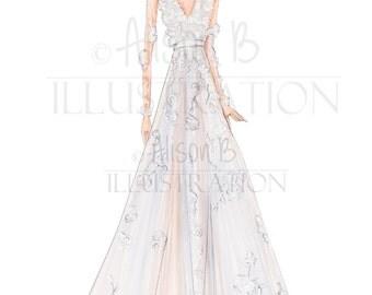 Wedding dress Illustration, wedding dress sketch,  custom sketch , anniversary gift, fashion, wedding gift- wedding art, bridal illustration