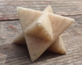 Large (50mm) MOONSTONE Natural Gemstone Merkaba Star (One)