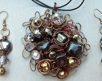 "Wire Jewelry Set, Handmade- Crystal, Bronze, Copper, Hematite, Serpentine, Design, Pendant Necklace (L- 21"", Adjustable)/Earrings (1.5"")"