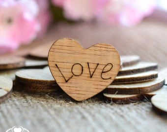 "100 Love Wood Hearts 1"" - Rustic Wedding Decor - Table Confetti - Wooden Hearts - Wedding Invitations"