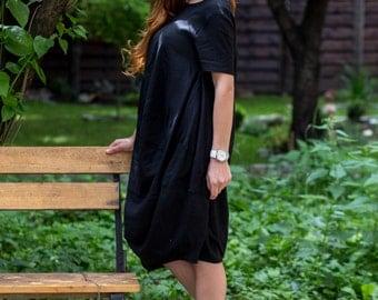 Linen Black Dress, Midi Dress, Cocktail Dress, Short Sleeved Dress, Minimalist Dress, Gothic Clothing, Loose Dress, Summer Dress