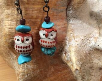 Ceramic Owl Dangle Earrings