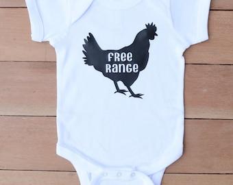 chicken onesie, chicken baby bodysuit, funny baby gift, free range baby onesie, free range kid, farm life onsie, country baby bodysuit