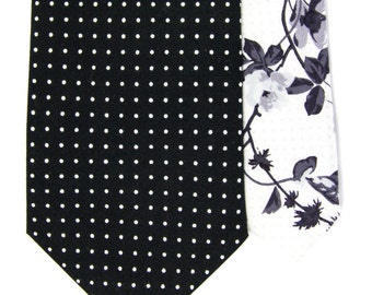 Black white dot men's skinny tie, Cotton necktie, grey floral with polka dots bubibubi tie