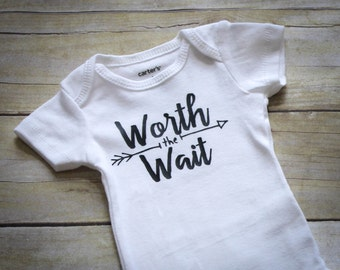 Worth the Wait Bodysuit, Worth the Wait, Infant Bodysuit, Baby Bodysuit, Short or Long Sleeves, Baby Shower Gift, New Baby Gift