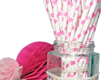 Straws 25x 50x paper drinking hot pink hearts party birthday vintage wedding favour