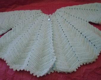 Baby Butterfly Jacket crocheted in 8 ply Acrylic Yarn in Baby Blue