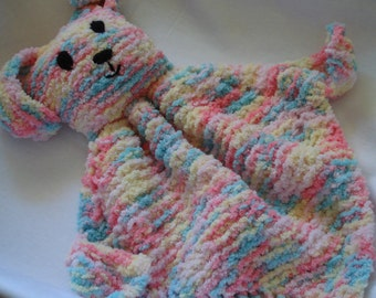 Cuddle Bunny done in a multi colour Chenille Yarn and is suitable for babies and toddlers