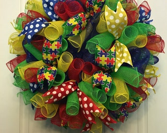 Autism awareness wreath, autism awareness