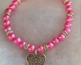 Hot pink & crystal rhinestone bracelet