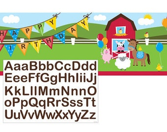 Farmhouse Fun Giant Personalized Birthday Banner with Stickers