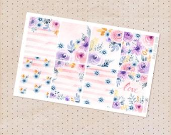Watercolor floral stickers - Le Jardin Collection / 8 matte decorative full box stickers