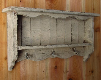 Cream off-white vintage shabby chic distressed handmade wall shelf old looking