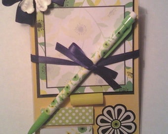 4x6 desktop Post it Note holder with mechanical pencil