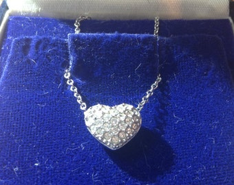 Vintage style Swarovski encrusted heart shaped pendant/ necklace/ beautiful