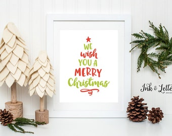 Christmas Wall Art - We Wish You a Merry Christmas - Red and Green Decor - Christmas Art Print - Christmas Tree - Instant Download - 8x10