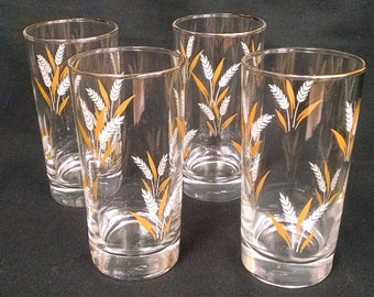 Libbey White and Gold Wheat Glasses/Tumblers with Gold Trim - Set of Four - Mid Century Beverage Ware