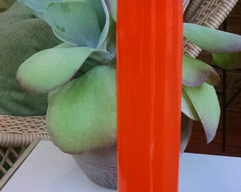 Cased Art Glass Vase -Tall and Tubular Vibrant Orange with White Interior- Excellent Condition - Vintage