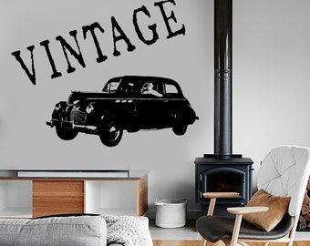 Wall Vinyl Decal Retro Classic Car Vintage Vechicle Amazing Decor 1337dz