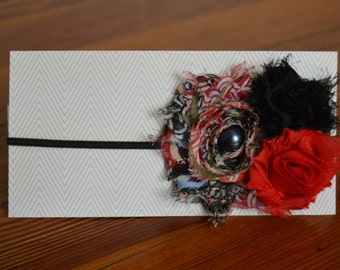 Shabby Flower Headband Black and Red Headband Girl Headband Baby Headband