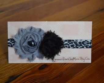 Grey and Black Shabby Flowers with Leopard/Cheetah Print Headband Girl Headband Baby Headband
