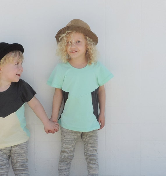 Girls T-Shirt / Short Sleeves T-shirt / Boys T-shirt / Toddler Summer / Hipster Toddler Clothes / Toddler Fashion / Mint And Grey Colours