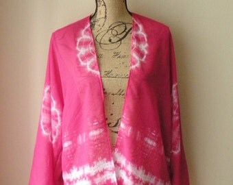 Sale! Sheer Hot Pink and White Tie Dye Print Cardigan (Medium-Large)