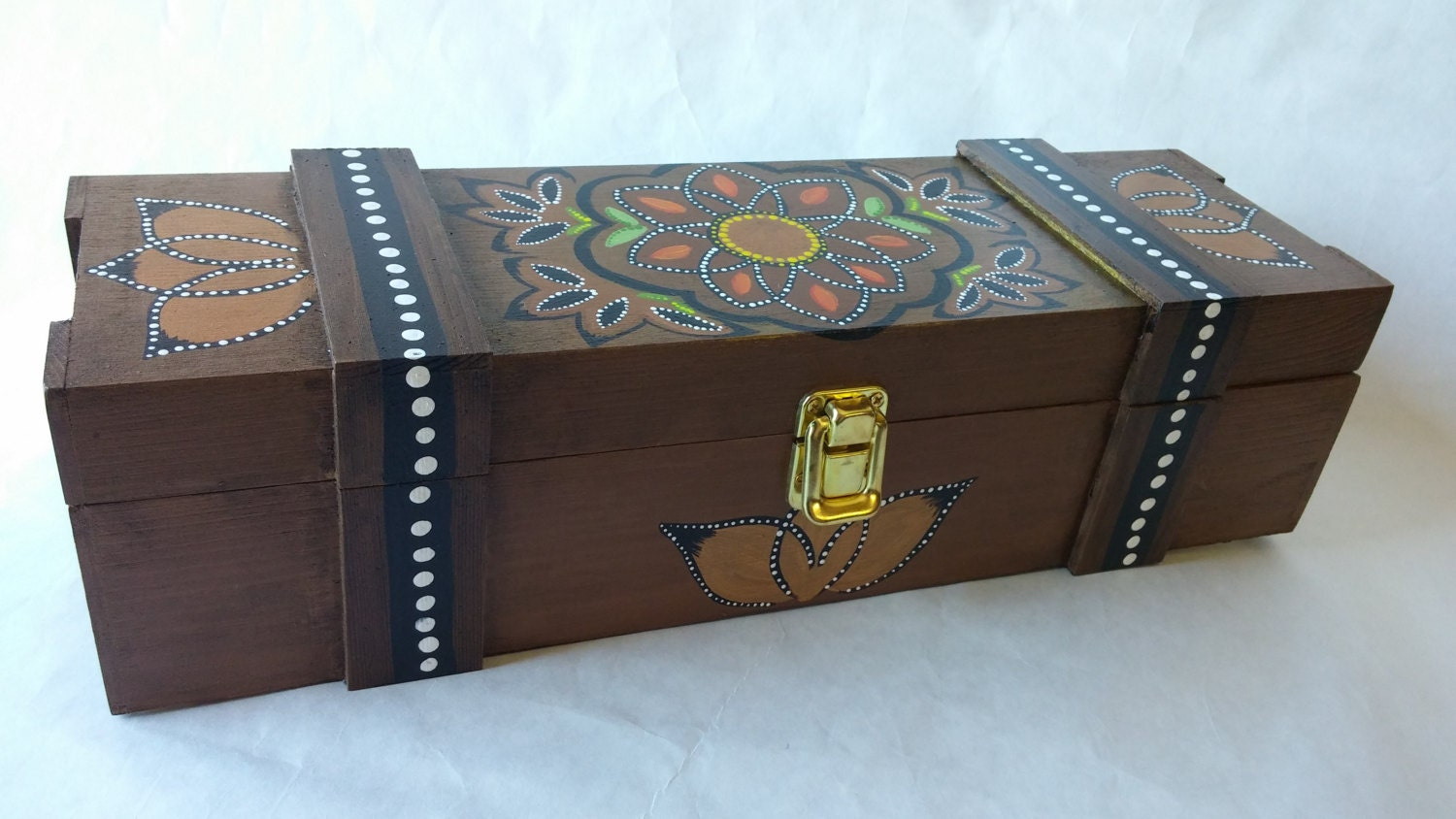 Wood wine box hand painted wine box gift box wood box wine for Timber wine box