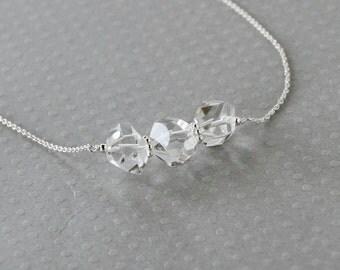 Crystal Quartz Necklace - Sterling Silver - Genuine Clear Quartz Nuggets - Natural Gemstones