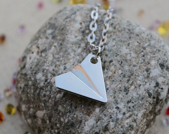 Silver Paper Airplane Necklace ~ Taylor Swift Jewelry, One Direction, Harry Styles, Aviation, Geometric, Modern and Minimalist