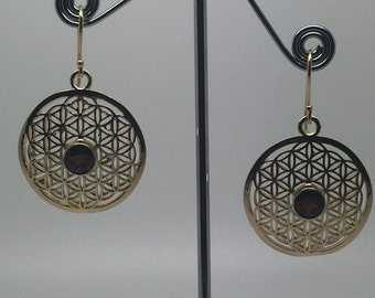 14k gold plated flower of life earrings with garnet stone,flower of life earrings,garnet earrings,stone earrings,flower of life jewelry,