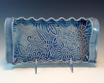 Blue Rectangular Serving Tray, Appetizer Tray, Textured Stoneware Tray, Cheese Serving Dish w/handles, Candle Holder, Decorative Plate