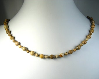 Picture Jasper Necklace Gold 18""