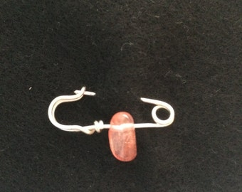 sterling silver 'friendship' safety pin with pink quartz bead