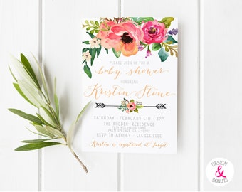 Unique Baby Shower Invitation Girl, Printable Watercolor Flower, Peonies, Pink and Green, Floral, Bohemian Bridal Shower  [60]