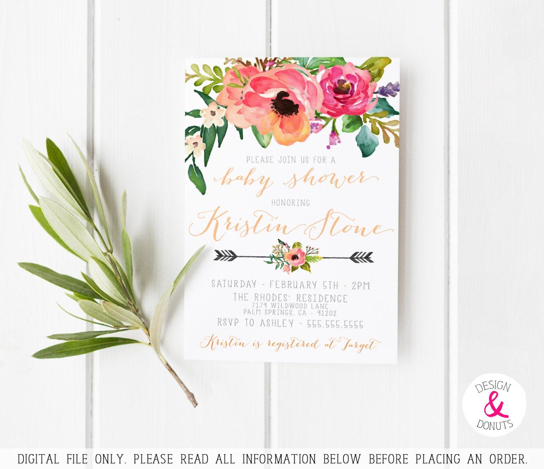 unique baby shower invitation girl printable watercolor
