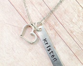 Personalized Name Necklace, Personalized Heart Necklace, Heart Necklace, Mother, Sisters, Friends, Kids Names, Hand Stamped Jewelry