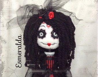 FEBRUARY***SALE***ESMERALDA ooak Ragdoll 19'' Gothic Sugar Skull Funky soft art doll Handstitched Collection Signed NumberedCollection