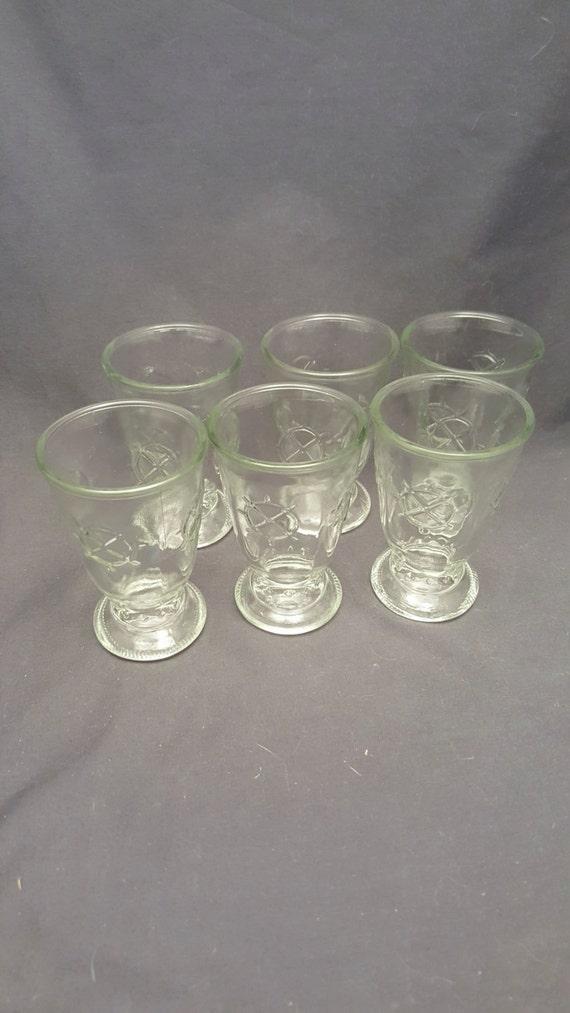 set of 6 shrimp cocktail glasses vintage cups anchor. Black Bedroom Furniture Sets. Home Design Ideas