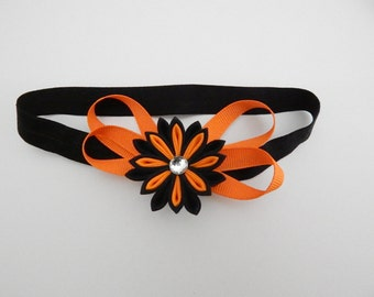 Kanzashi Headband, Kanzashi Flower, Tsumami kanzashi, Flower Hair Bow, Kanzashi Hair Accessory,gift,Ribbon, Orange, Black, Halloween