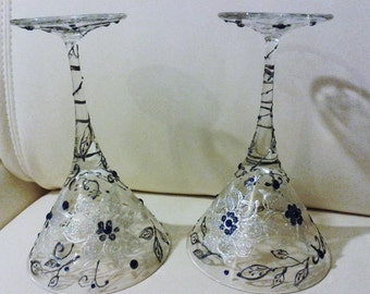 WEDDING GIFT-set 2 hand painted GLASSES