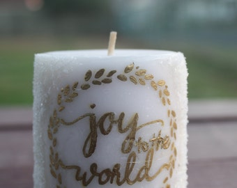 Joy to the World Pillar Candle