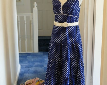 Super Seventies Summer Sun Dress. Navy Blue and White Polka Dots.