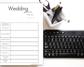 Wedding Questionnaire for Photographers