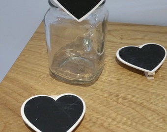 Mini Chalkboard Peg Clip - Heart shape