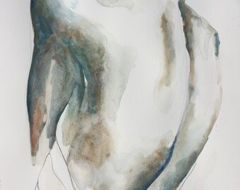 "Portrait XI ORIGINAL WATERCOLOR painting 12.5"" x 16"" - Free Worldwide Shipping"