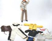 Vintage 1980s Ken doll plus clothes and shoes - tuxedo, western wear - Mattel, Barbie, black hair, twist and turn waist