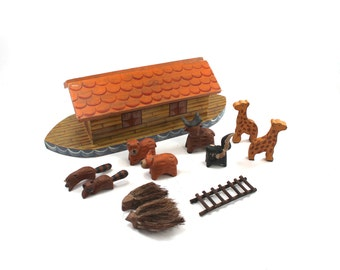 Vintage handmade Noah's Ark set - wooden toy, hand-carved, hand-painted, animals, religious toy, Christian, Bible story playset, darling!